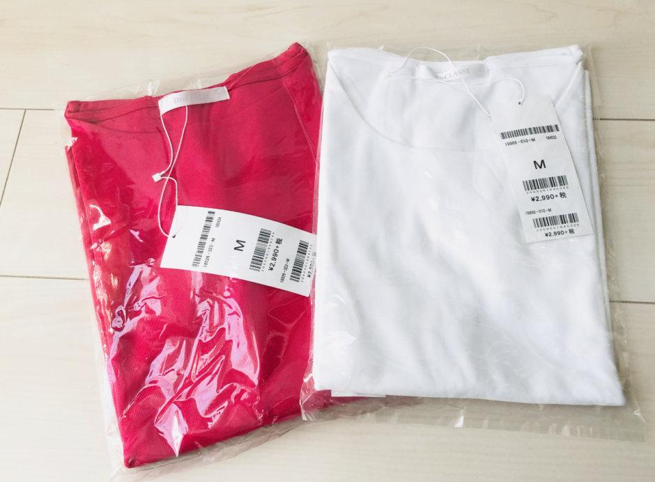 ダブルフロントTシャツのピンクと白