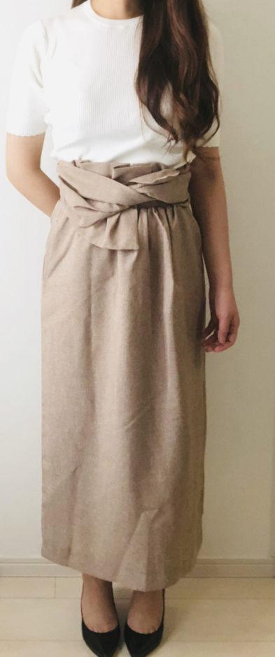 ピエロのリネンライク ワイドベルトタイトスカート 杢ベージュ