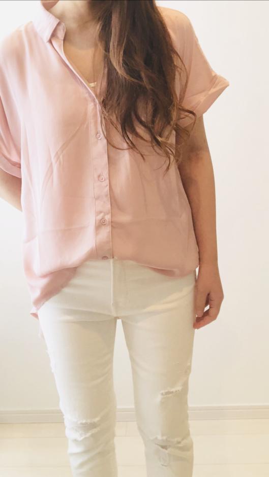 夢展望の半袖スキッパーシャツ F スモーキーピンク