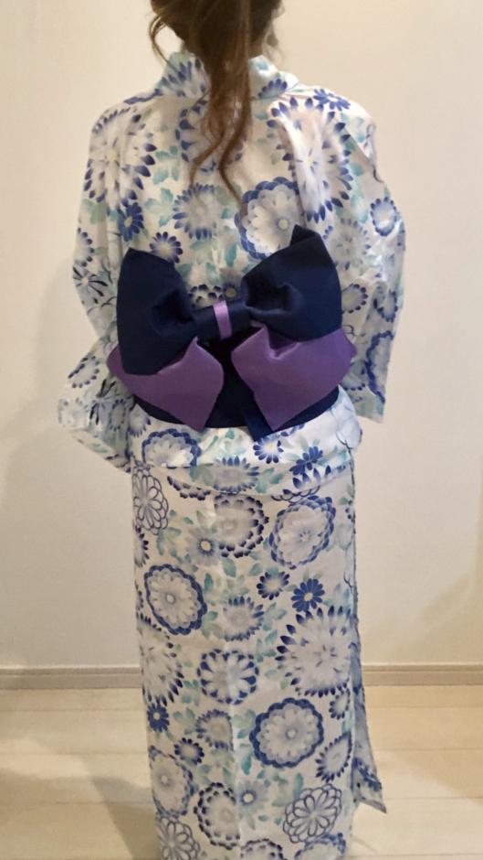 夢展望の丸菊柄 高級平織り浴衣+帯2点セット