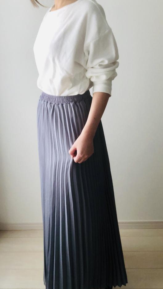 夢展望のプリーツロングスカート ブルーグレー