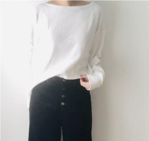 夢展望の前ボタンデザインコーデュロイ裾切りっぱなしワイドパンツ ブラック