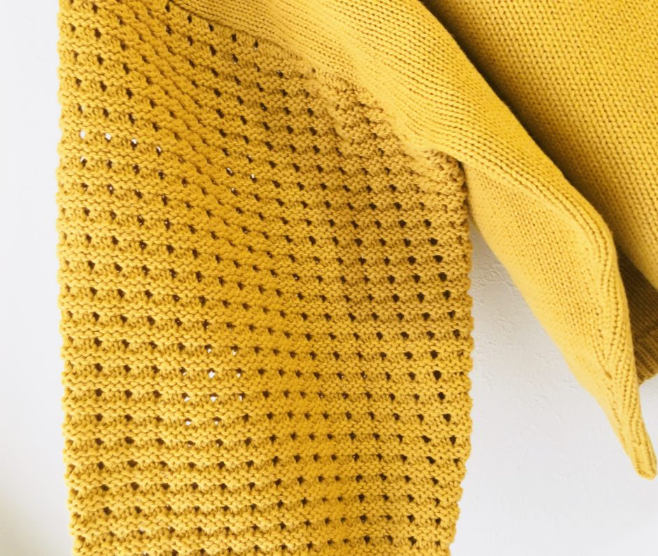 夢展望の綿100%袖透かしデザインボートネックニットトップス