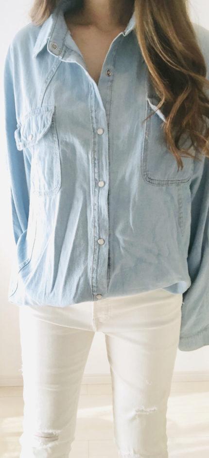 【NANING9】ダブルポケットデニムシャツ ライトブルー