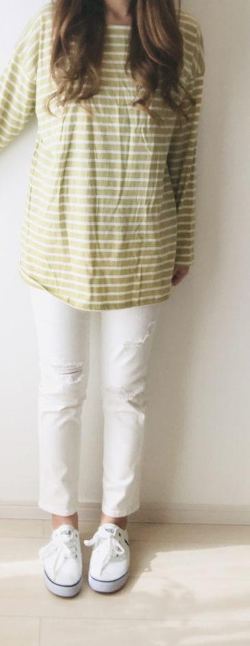 【MICHYEORA】デイリーストライプTシャツ ライトカーキ