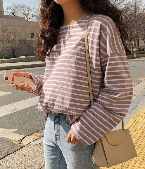【MICHYEORA】デイリーストライプTシャツ
