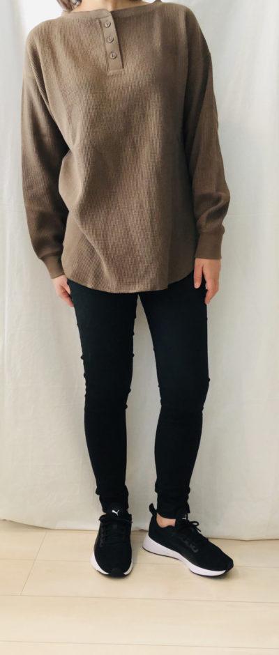 服のアウトレット通販【LFO】で私が購入したワッフル素材のヘンリーネックカットソー