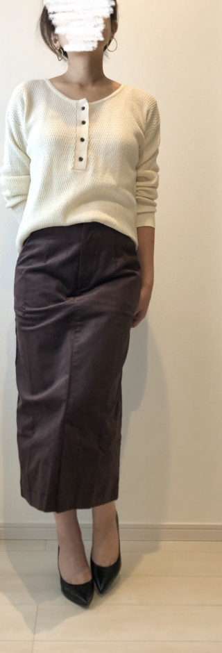 夢展望のストレッチコーデュロイナロースカート
