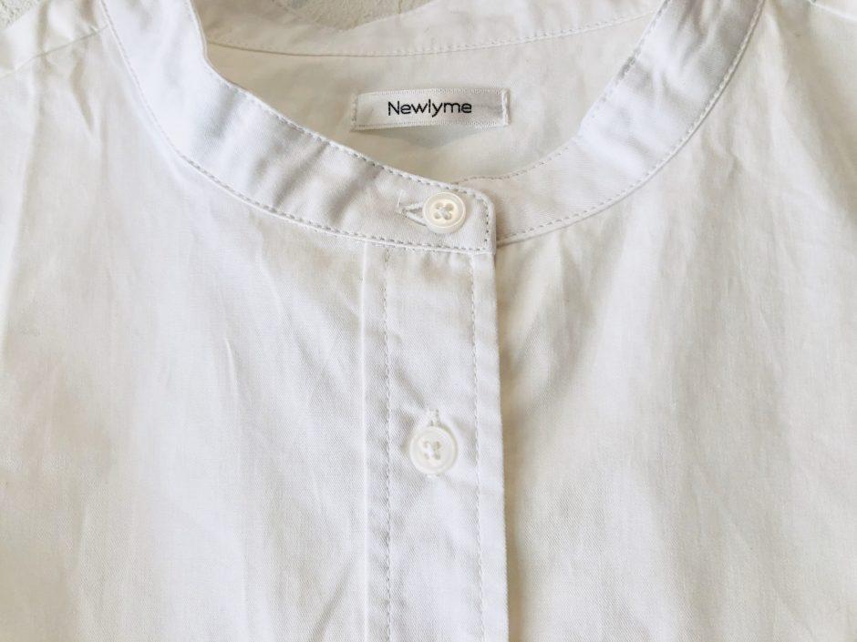 夢展望のバックベンツスリットバンドカラーシャツ