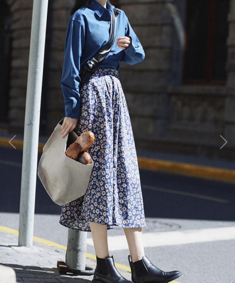 ジェミレミのフローラルボックスプリーツスカート