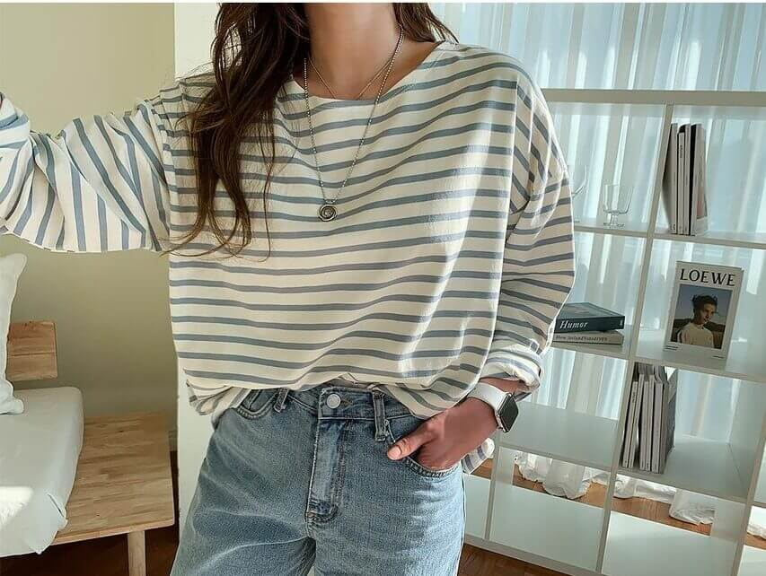 Yes Style 購入品 NANING9(ナンニング) - Loose-Fit Stripe T-Shirt